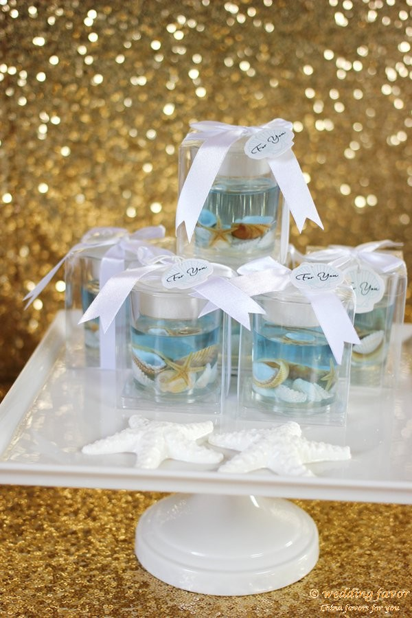 Shells and starfish jelly candle favor for wedding