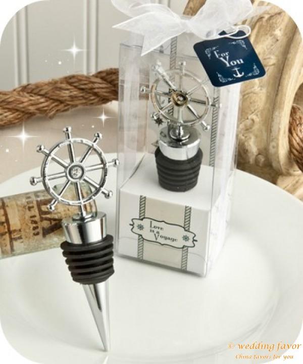ship's wheel design wine stopper favors