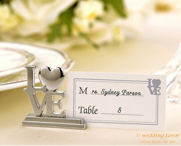 Silver LOVE Place Card Holder Wedding Favors
