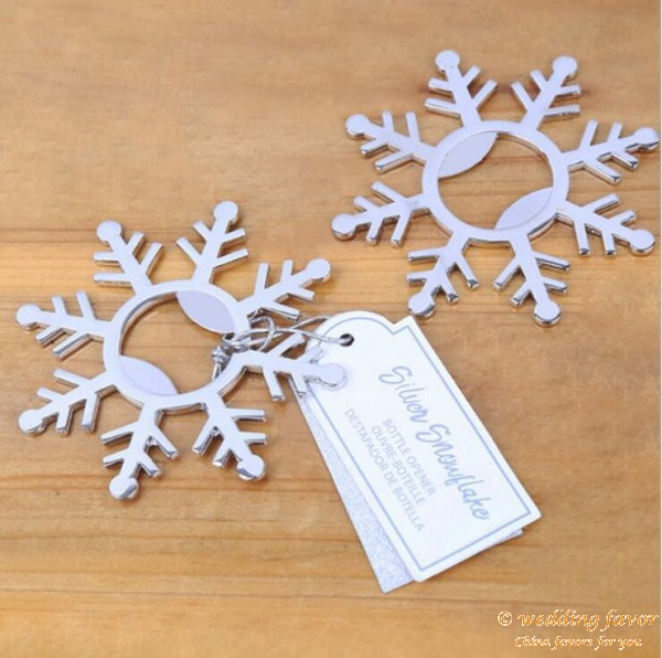 Silver Snowflake Bottle Opener Wedding Favour for Guests