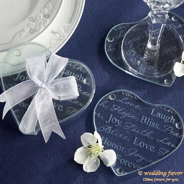 Simple design memory of love glass coasters favor