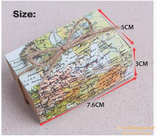 World map Candy Boxes Gift Box Sugar Candy Box with Burlap Wedding Favor